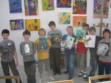 Children with their paintings